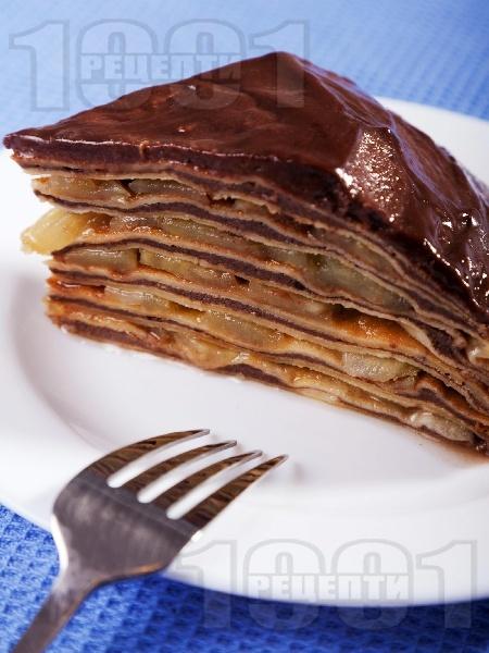 Лесна сладка палачинкова торта с ябълки и домашен шоколадов крем с нишесте - снимка на рецептата